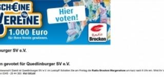 Im Lostopf bei Radio Brocken - 1.000 Euro - Chance für unseren Nachwuchs dank eurer 500 Stimmen